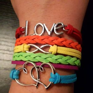Love to Infinity and Beyond Double Heart LGBT Pride Bracelet