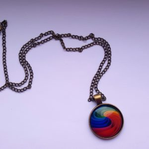 Colorful Rainbow Flower Buttons Flag Crystal Pendant Necklace