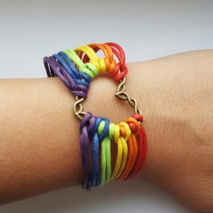 Rainbow Flag Pride LGBT Charm Heart Braided Bracelet